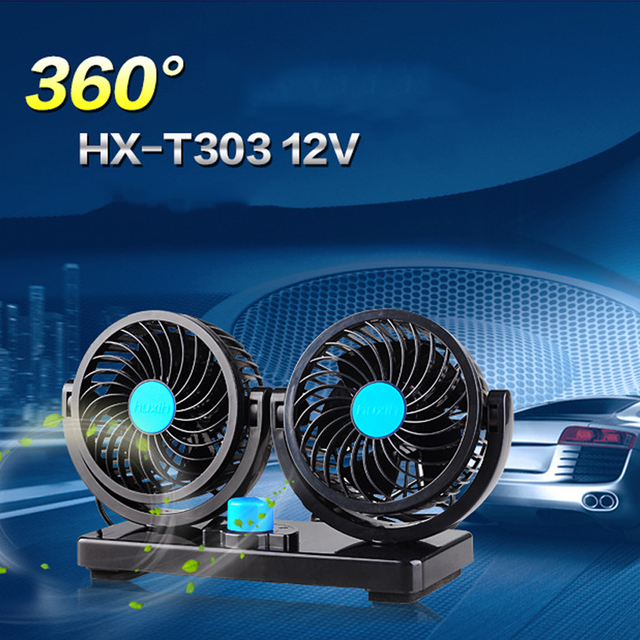 Tiptop New 360 degree All-Round Dual Head Car Cooling Air Fan 2 Speed Adjustable Quiet Cooler 12V OCT5