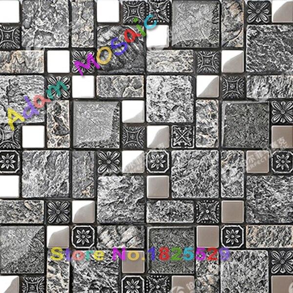 Negro azulejo de la cocina backsplash metro gris azulejos de mosaico ...