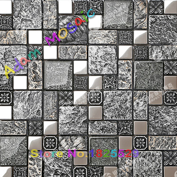 Black Kitchen Tile Backsplash Subway Gray Mosaic Tiles Vintage Pattern Bathroom Wall Interior Fireplace Design Art