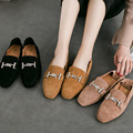 The new leather shoes with thick with shallow mouth of small leather shoes pedal comfort shoes shoes color.