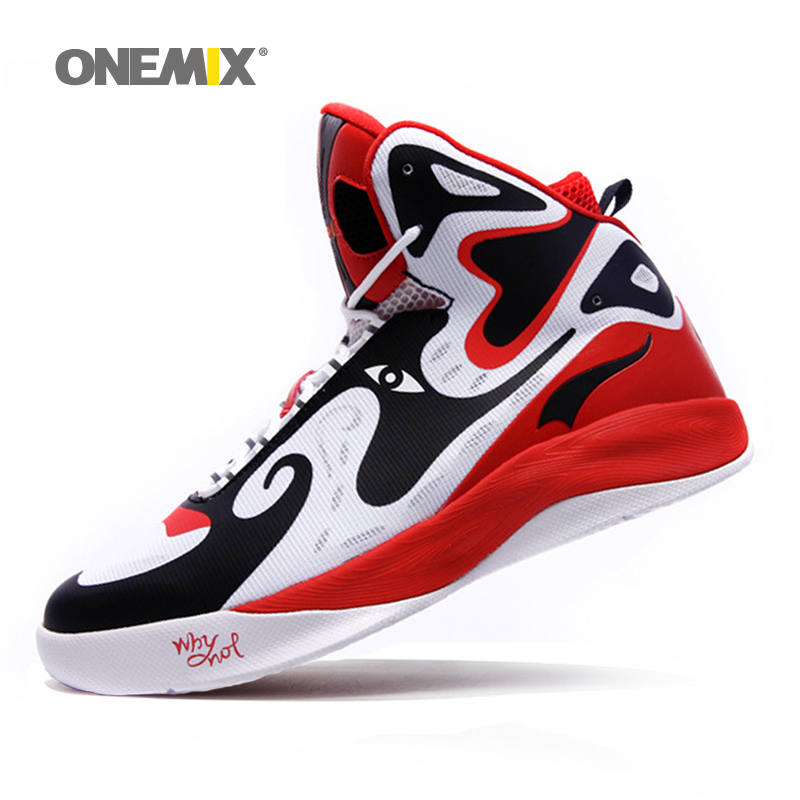 Onemix Man Peking Opera Mask Ankle Boots Style Culture Basketball Shoes for Men Breathable High Top