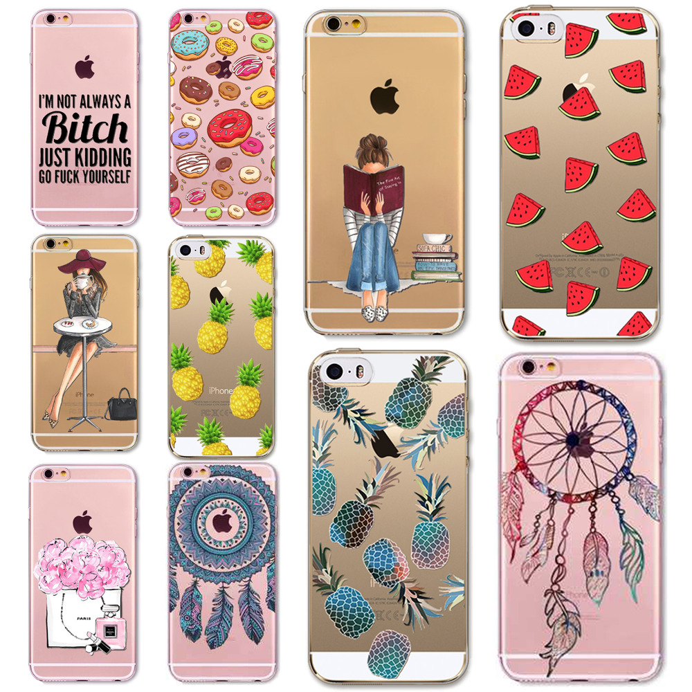 Mobile Phone Bags & Cases  Mobile Phone Bags & Cases: Girl Dress Shopping Fashion Phone Bag For iPhone 5 SE 5S 6 6S 6(s)Plus Transparent Soft TPU Modern Sexy Girls Case Cover