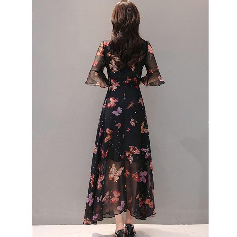 Grande Taille Odfvebx Haut Robes parleur Robe Impression Photo Mousseline Vêtements Mode Mince Soie Femmes 2xl De D'été Manches Color En Nouvelle Longue qgqHBFrxw
