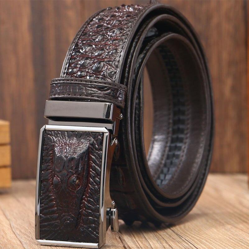 2018 crocodile leather automatic buckle black belt cow leather belt crocodile print high grade fashion personality