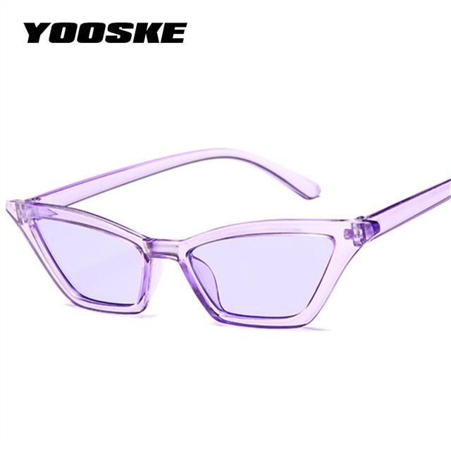 YOOSKE 2018 Bonito Senhoras Sexy Olho de Gato Óculos De Sol Das Mulheres Designer de Marca Do Vintage Pequenos Óculos de Sol Feminino Retro Cateye Eyewear UV400