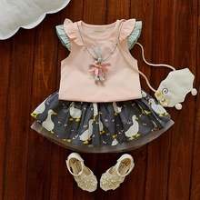 WYNNE GADIS Summer Baby's Sets Short Sleeve T-shirt Tops + Duck Print Girls Tutu Skirt Kids Princess Party Two Pieces Suits