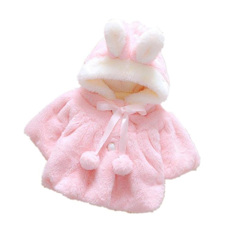 Children's Coat The New Baby girl Cute Fashion 100% Cotton Pink/white Plush Coat for Winter Spring Autumn Lovely 4