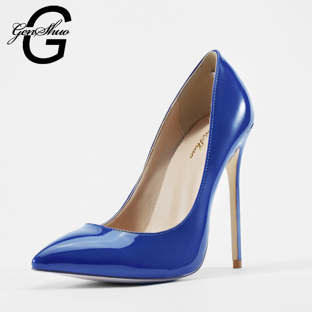 Roller pump shoes - Genshuo 2017 Elegant Women Dark Blue Patent Leather Pointy Evening Dress Pumps High Heels Ladies Party