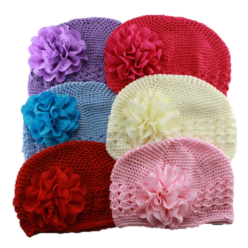new fashion cute baby & kids Handmade peony Flowers Crochet Knitting Cap 's boy's beanie hat children accessories the new children s cubs hat qiu dong with cartoon animals knitting wool cap and pile