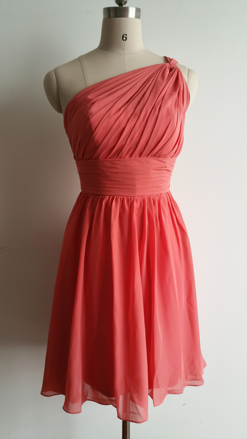 Elegant one shoulder knee length formal gown coral chiffon for One shoulder short wedding dress