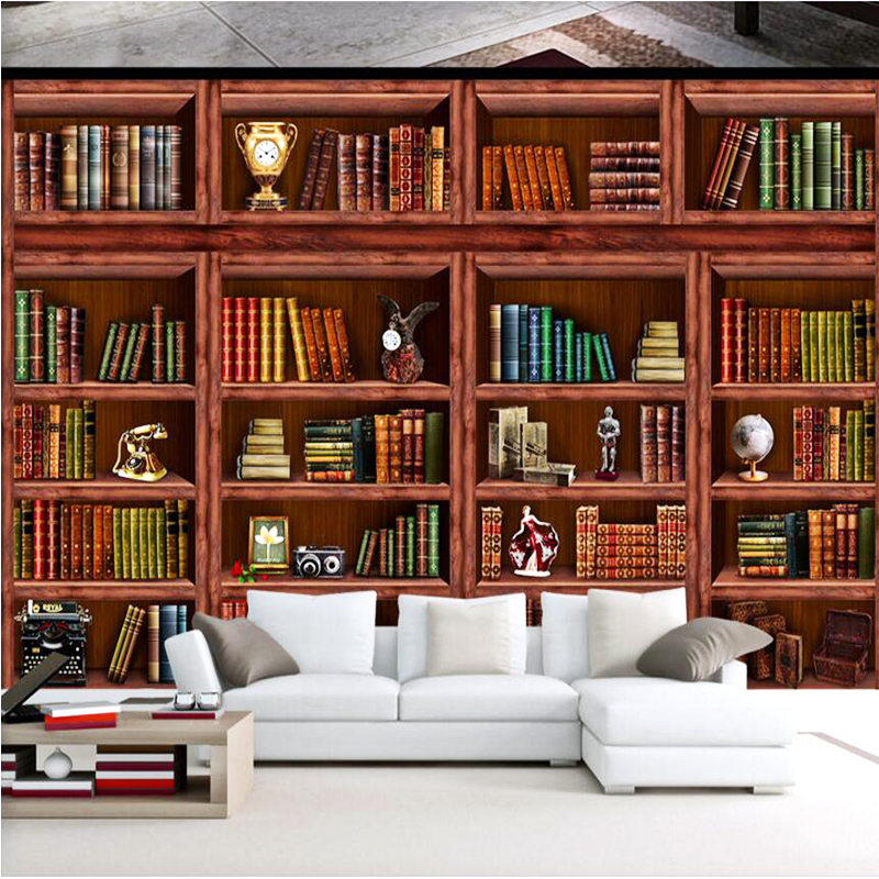 Customize Any size HD 3D Photo Wall paper living room Bookshelf stereo wallpaper for Bedroom TV Sofa Background wall Mural Decor custom 3d mural wallpaper print modern living room sofa tv bedroom fashion colorful lion photo background decor wall paper rolls