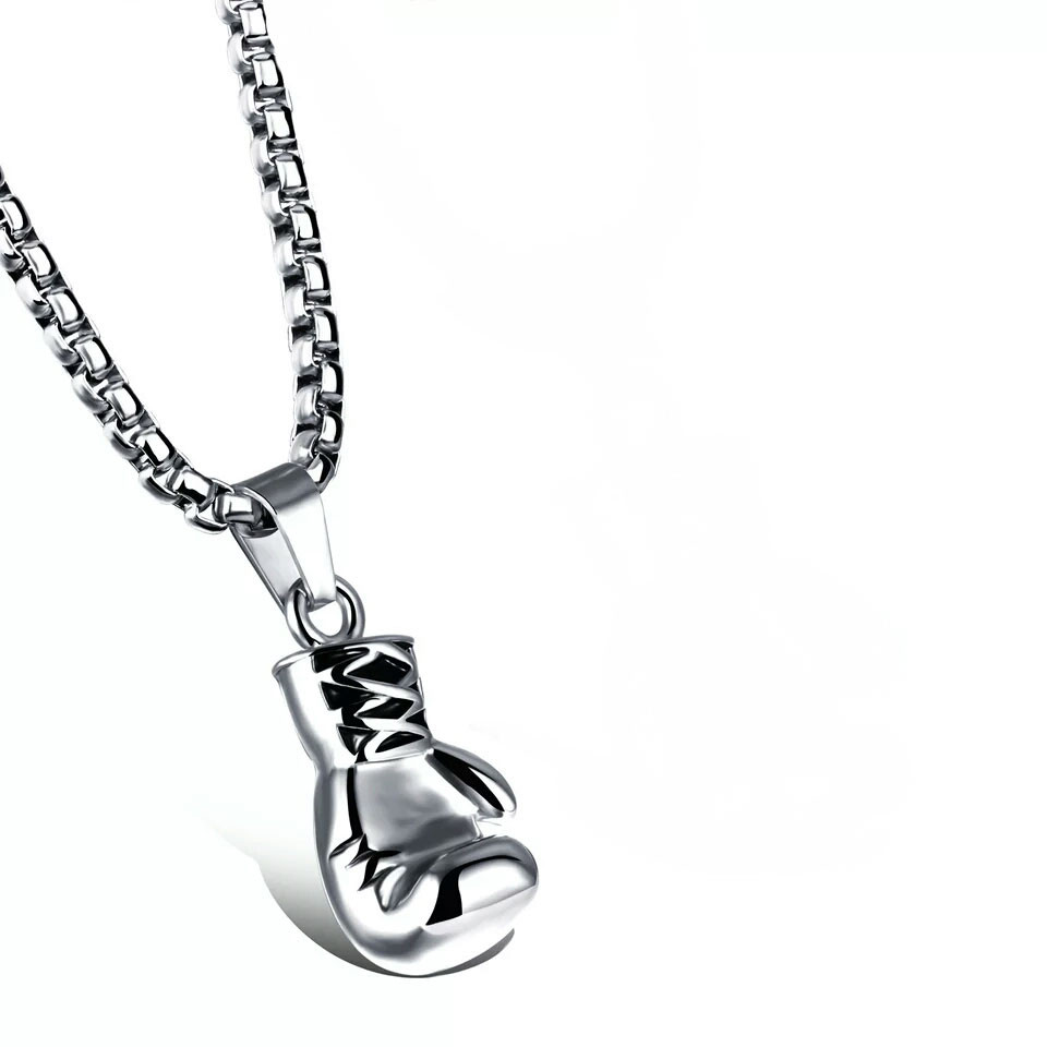 WAWFROK Silvery Necklace Plated Fashion Mini Boxing Glove Necklace Boxing Jewelry Stainless Steel Collar de Cadena Cool Pendant
