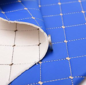 Image 2 - 138*100cm furniture PU leather perforated embroidered plaid fabric car interior roof fabric plaid car seat cushion fabric 0.3cm