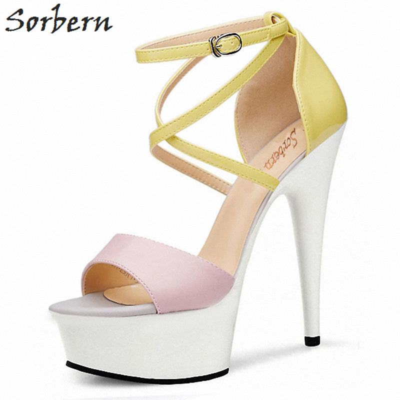 Sorbern Ankle Strap Summer Shoes Women Sandals White High Heels Platform Shoes Fetish Heels Ladies Shoes Size 42 2018 Diy Colors