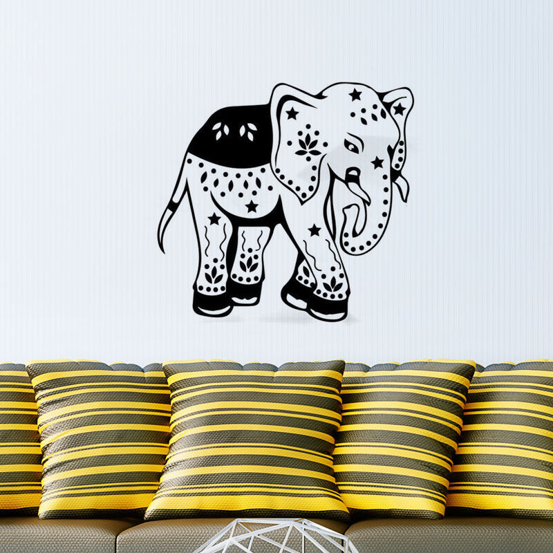 Indian Tribal Ganesha Pattern Elephant Florbal Vinyl Wall Sticker Art Home Living Room Decora Decals Y-508