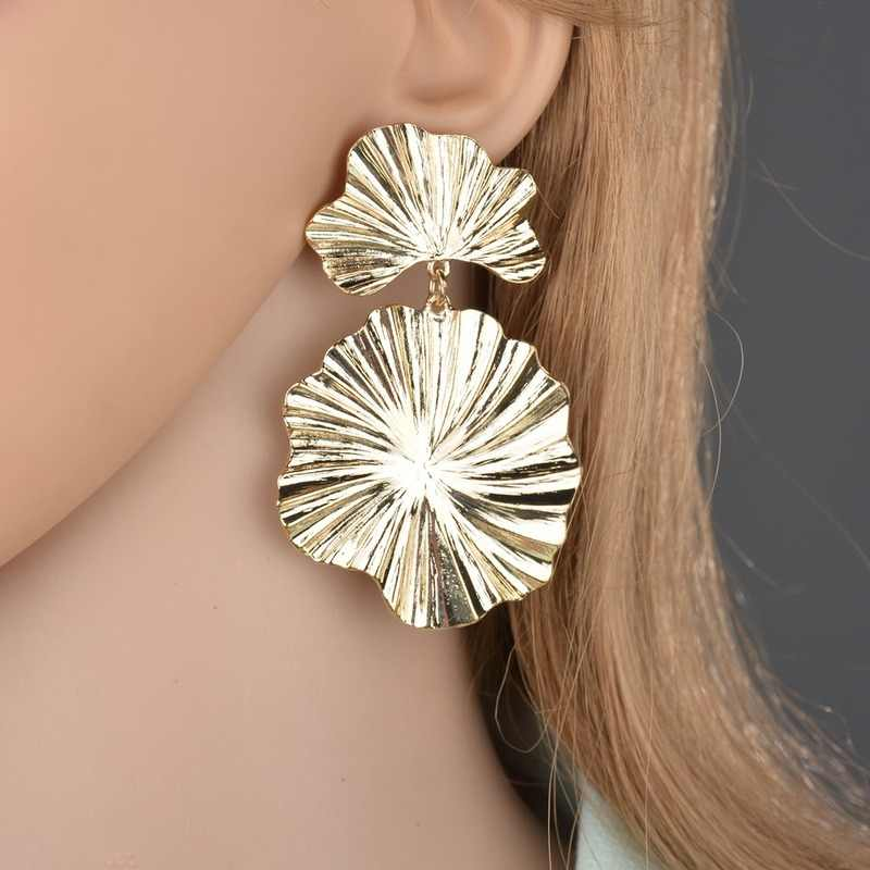 Unique Design Gold/Silver Color Leaf Womans Earrings Trendy Punk Metal Hanging Earings Kolczyki 2018 Party Jewellery