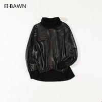 Women Genuine Leather Jacket Black Elastic Waist High Neck Slim Fit Korean Style Streetwear Real Sheepskin Female Casual Jackets