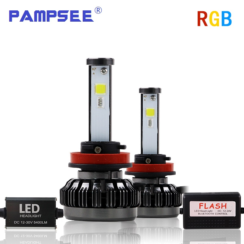 PAMPSEE H4 LED Auto Lamp H1 H7 H3 HB2 Hi/Lo DIY Led Car Headlight Bulb COB Chip 40W 6000LM RGB Beam Fog Light Bluetooth Control цена