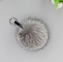 12m 4.72″ Genuine Silver Fox Fur Pom Pom Ball Keyring Keychain key finder Bag Charm Pendant Monster Handmade Free Shipping