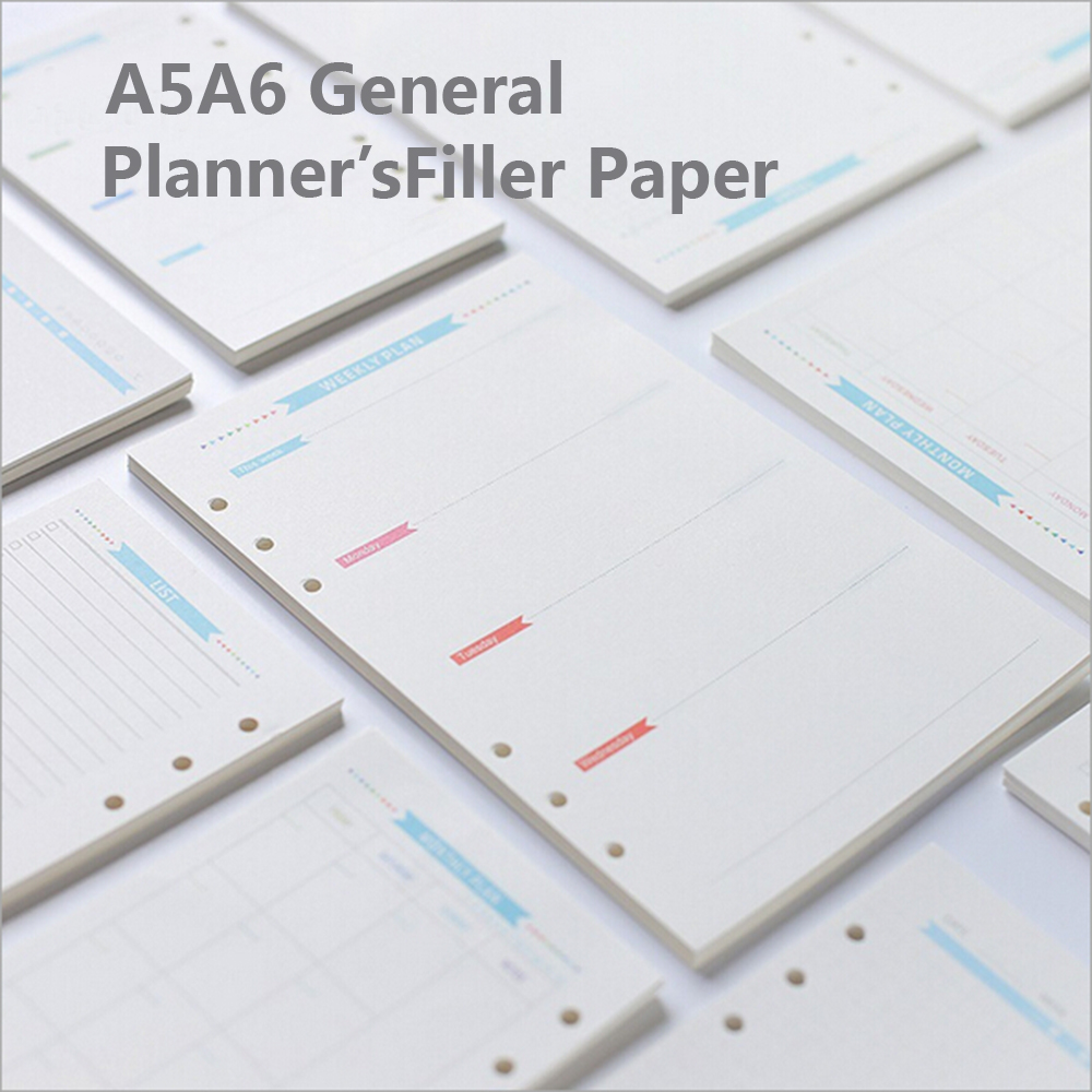A5/A6 6 Holes Blue Label Colored Planner Accessories Spiral Filler Paper Office School Stationery Binder Planner Filler Paper