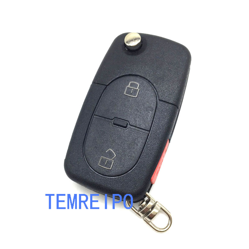 2 +1 Panic Folding Flip Remote Key Shell Fit For Audi A3 A4 S4 Uncut Blade Fob Case Cover CR1616 / CR2032 battery place