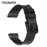 Metal Quick Fit Genuine Leather Watchband 22mm 26mm for Garmin Fenix 5X/5X Plus/5/5 Plus/3/3 HR Silicone Hybrid Band Watch Strap