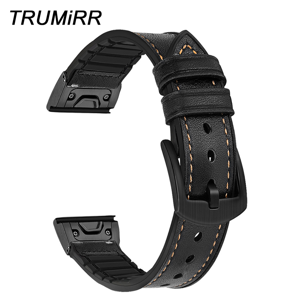 Metal Quick Fit Genuine Leather Watchband 22mm 26mm for Garmin Fenix 5X/5X Plus/5/5 Plus/3/3 HR Silicone Hybrid Band Watch Strap