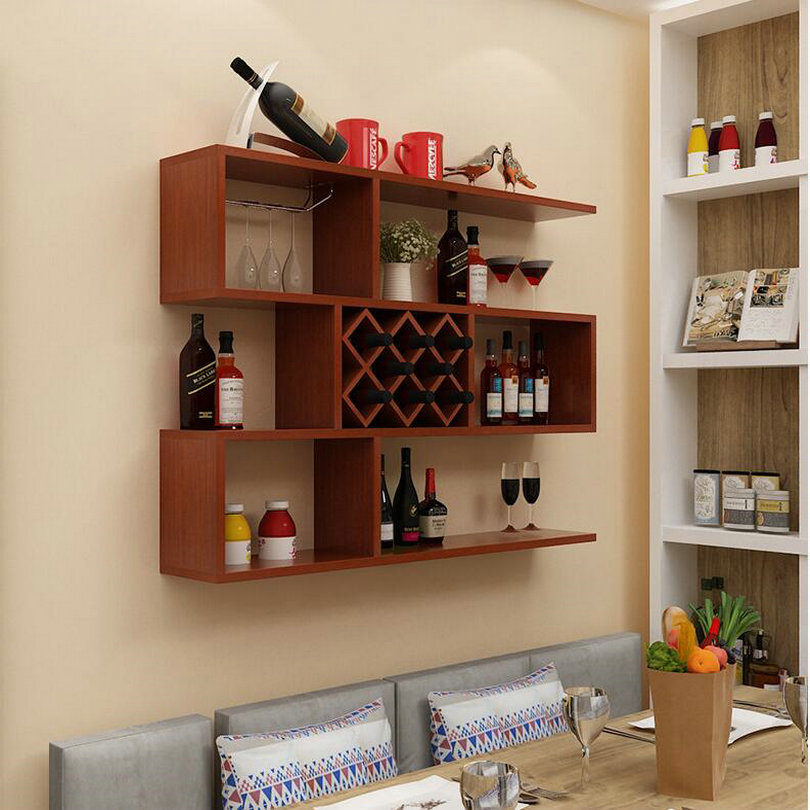 A Type 100x100x23cm Environmental Wall Mounted Wood Bar Wine