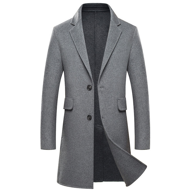 Autumn and winter double-sided wool coat mens pure handmade long men cashmere