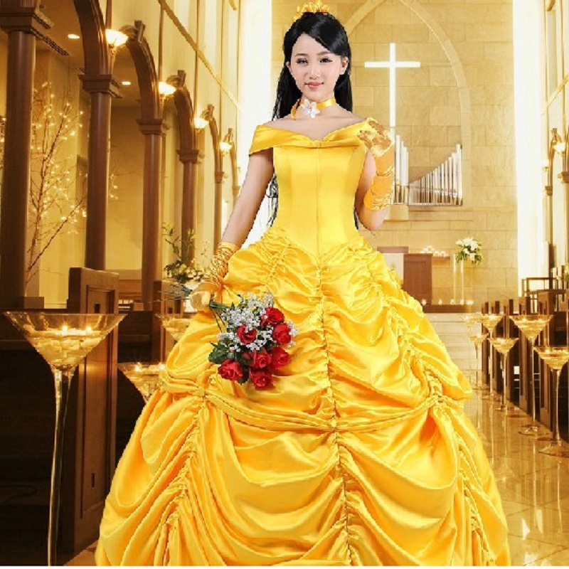 princess ball gown beauty and the beast belle costume for kids dress adults cosplay christmas womens yellow gown fancy women