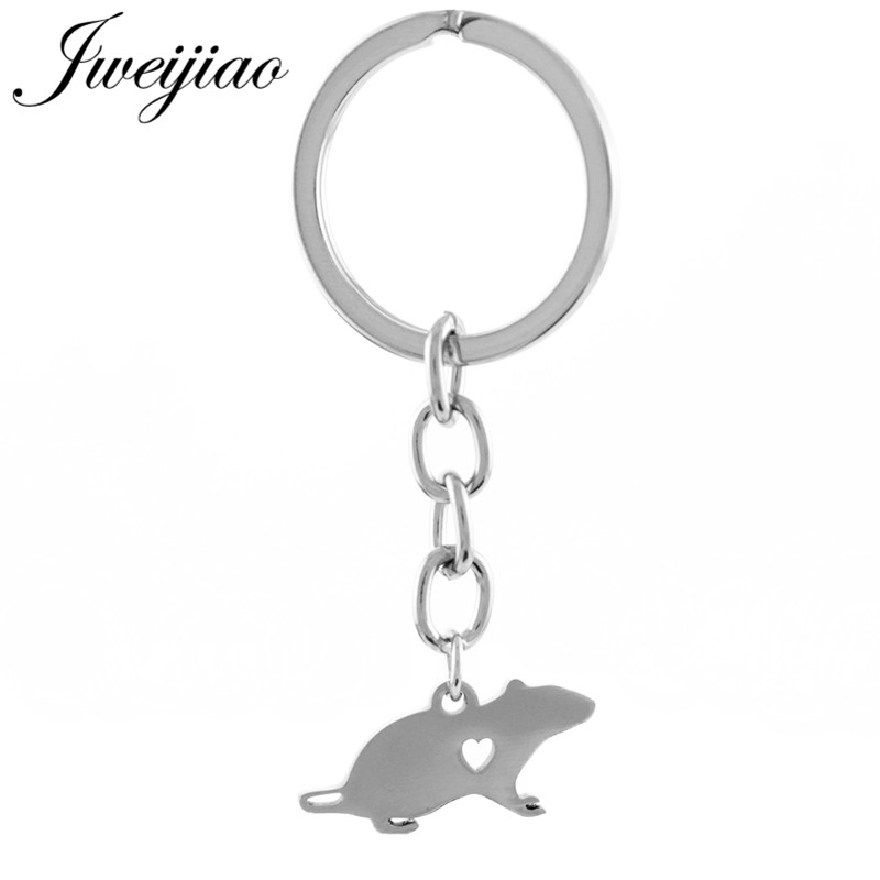 JWEIJIAO Mouse Charms Keychain Key Chain & Key Ring Holder Stainless Steel Custom Gift For Children Kids Bag Pendant SKU35