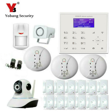 YobangSecurity Touch keypad WIFI GSM IOS Android APP Wireless Home Burglar Security Alarm System IP Camera Smoke Fire Detector yobangsecurity touch keypad wifi gsm gprs rfid alarm home burglar security alarm system android ios app control wireless siren