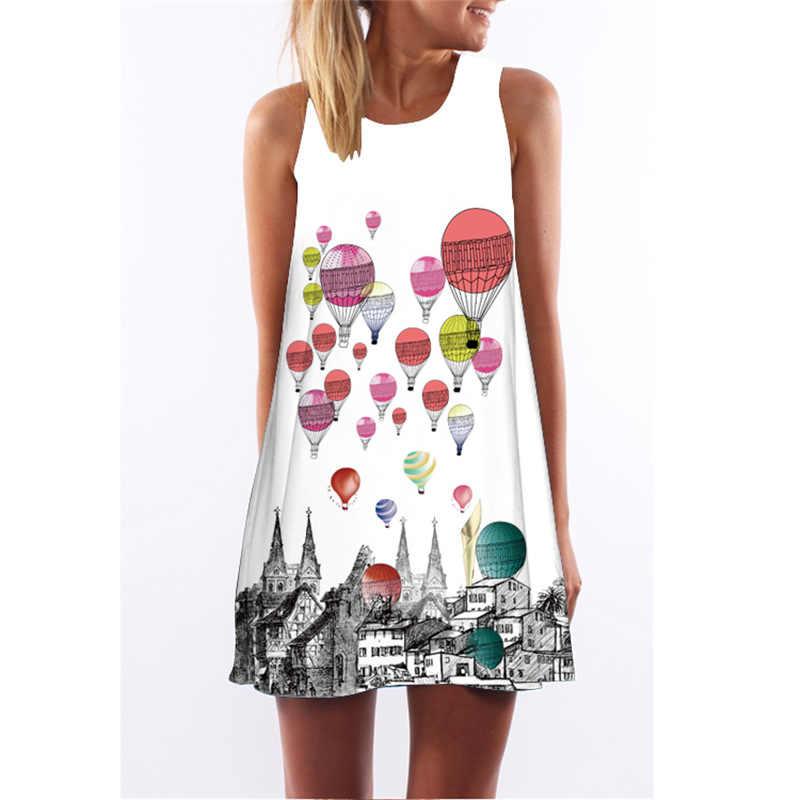 MEIBONA Vrouwen Retro Jurk 2019 Zomer Nieuwe Collectie Mouwloze Mini Strand Vakantie Jurk Print Mouwloos Vest Tank Jurken Elbise