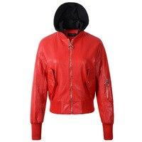 2018 New Hot Women Casual Con Cappuccio Faux Leather Jacket Lady PU Manica A Pipistrello Nero Rosso Bianco Autunno Inverno Cappotto Tuta Sportiva
