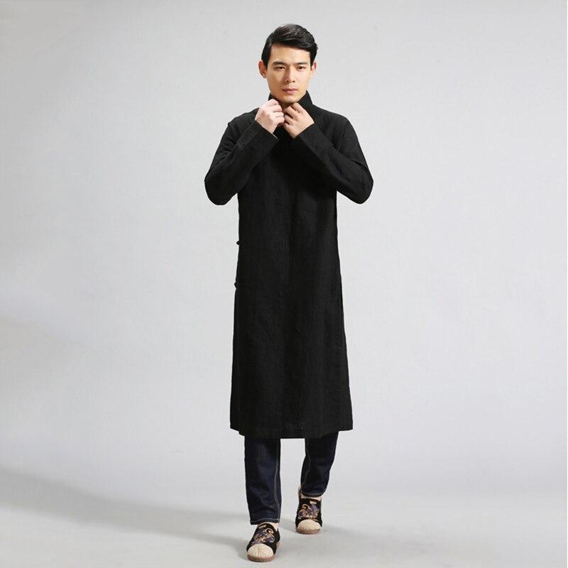 LZJN Camisas De Linho Dos Homens Chineses Robe Étnica Roupa Masculina Roupas de Manga Comprida Camisas de Vestido Do Vintage Blusa Masculina Gomlek MF 6 - 2