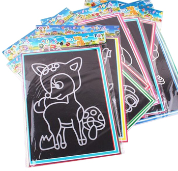 20Pcs/10Pcs Magic Scratch Art Doodle Pad Sand Painting Cards Early Educational Learning Creative Drawing Toys for Children GYH 2