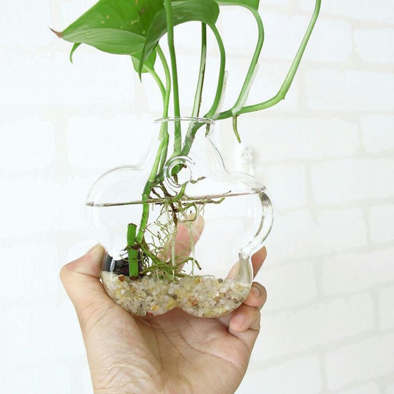 Cute Clear Hole Pretty Transparent Rhombus Crystal Glass Plant Vase Terrarium Hydroponics Hanging Wedding Party Home Decor
