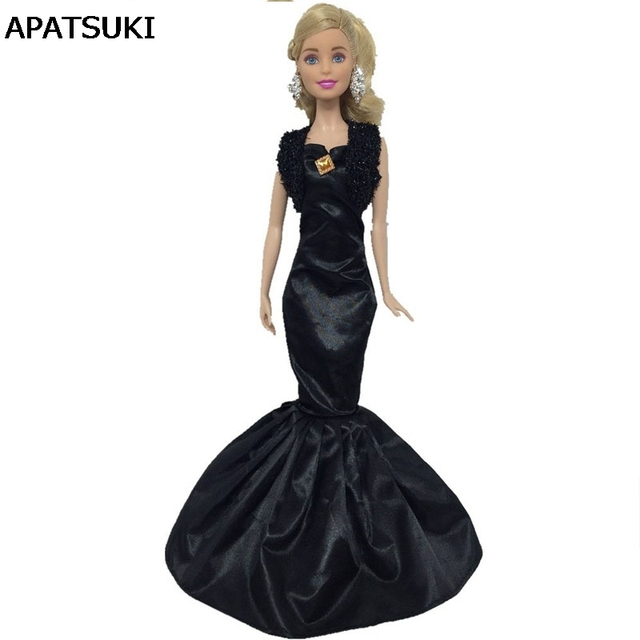 Hitam Fashion Tinggi Mermaid Tail Gaun Boneka Untuk Boneka Barbie
