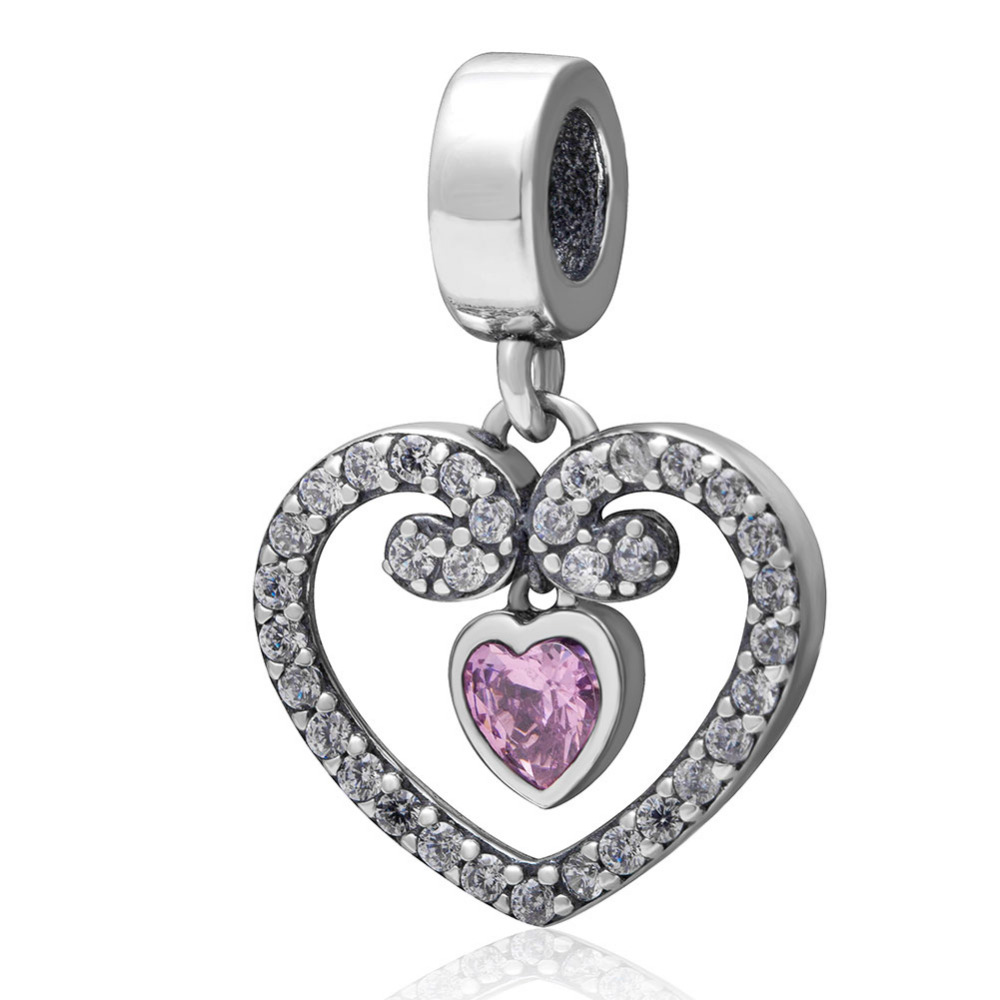 Pink Cubic Zirconia Heart Pendant Beads Authentic 925 sterling silver Charms Fit Pandora Charm Bracelets Fashion Jewelry