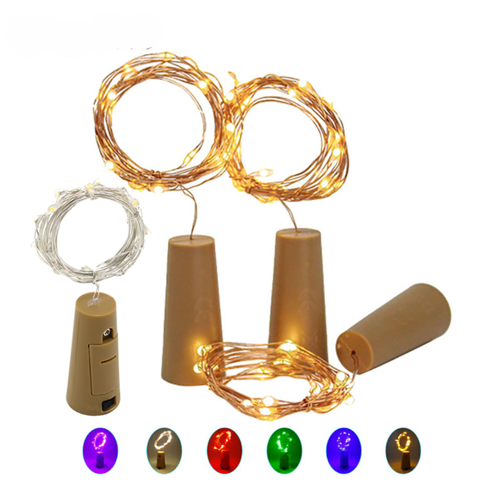1M 2M LED String Garland Copper Silver Wire String Lights Bottle Stopper Fairy Lights Holiday Wedding Party Decoration
