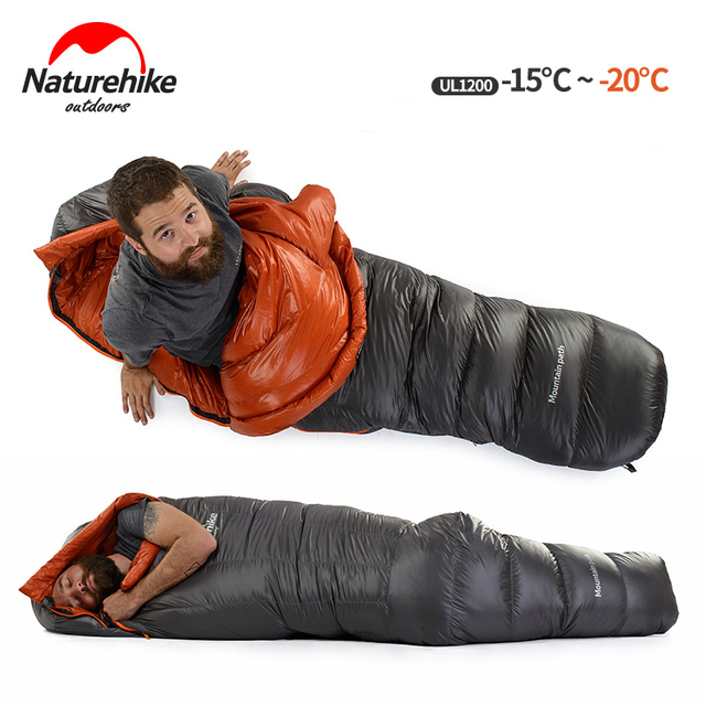 Naturehike Lightweight Winter Duck Down Sleeping Bag Cold Weather Mummy Nylon Waterproof Single 650fp