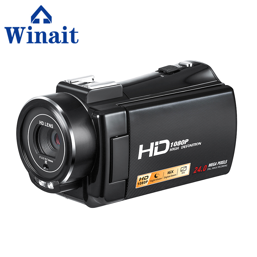 Winait 1080P Full-HD Digital Video Recorder 24Mp High Definition Digital Camera Wireless Video Camera Anti-Shake 10s Self-Timer