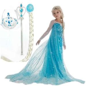 Hot Custom Anna Elsa Girls Princess Children Summer Gilrs Dress Cloth Vestidos Infants Dress Baby Dresses Children Cosplay Cloth(China)