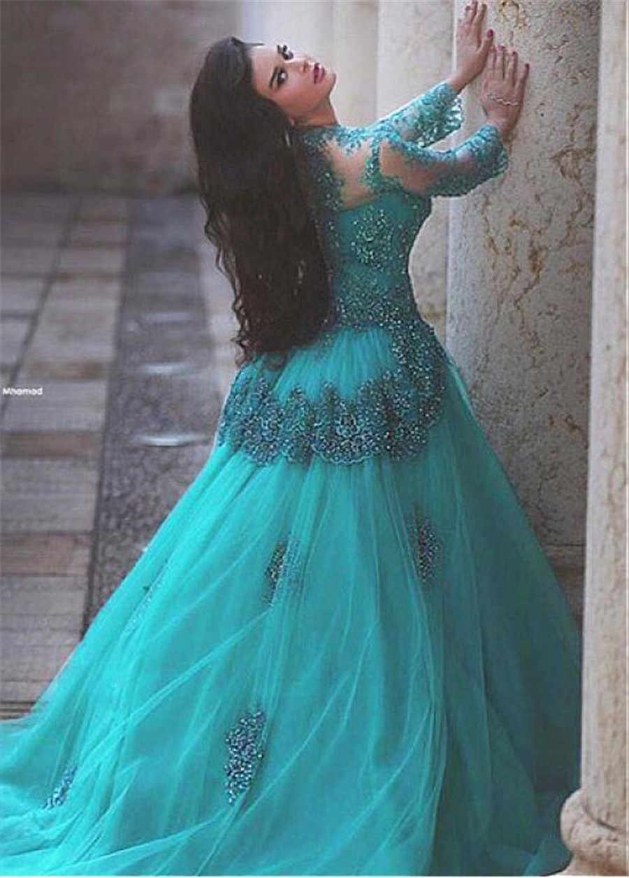 Сказочное… из тюли круглый вырез декольте Свадебные платья А с бисером кружевной аппликацией синий одежда с длинным рукавом Свадебное платье