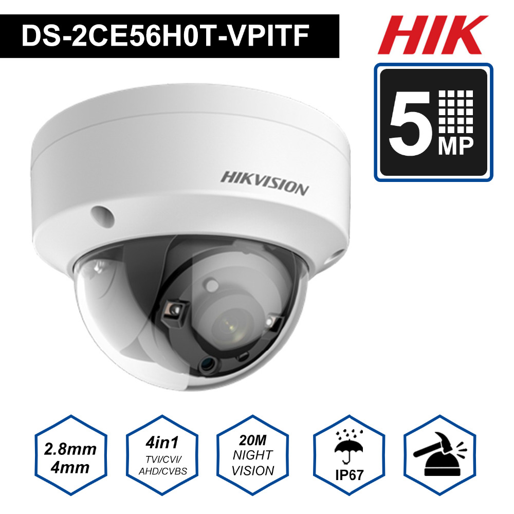 Hik Original Surveillance Analog Camera 5MP TVI/AHD/CVI/CVBS Switch 4 IN 1 Camera DS-2CE56H0T-VPITF 20m IR Dis Tance CCTV System