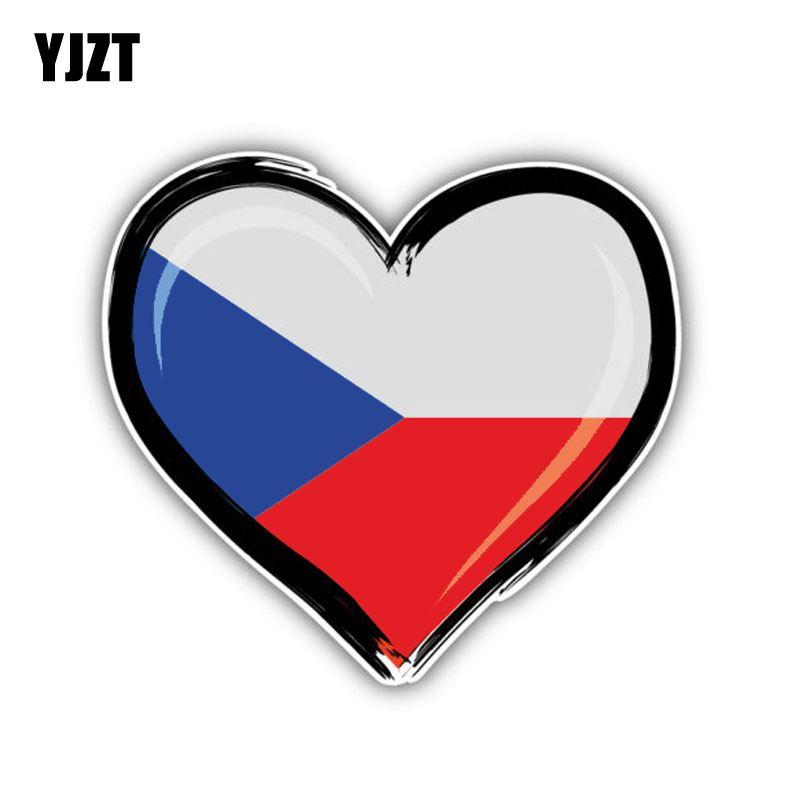 YJZT 14CM*13CM Czech Republic Car Sticker Flag Motorcycle PVC Decal Car Accessories 6-1344