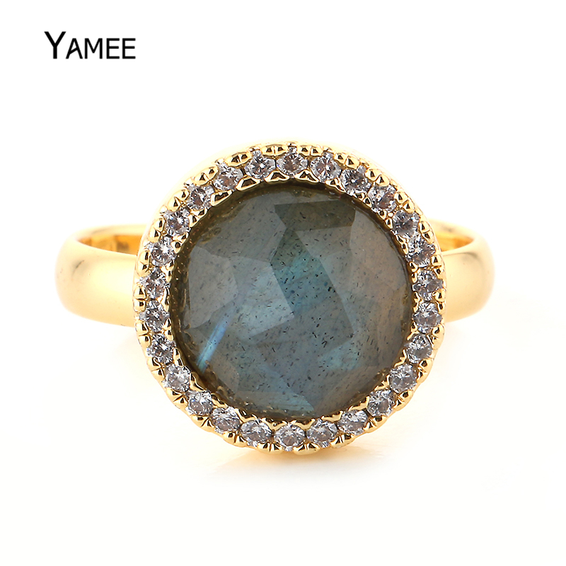 Round Zircon Gold Luxury Ring 13mm Labradorite Stone Adjustable Gold Wedding Rings Vinta ...