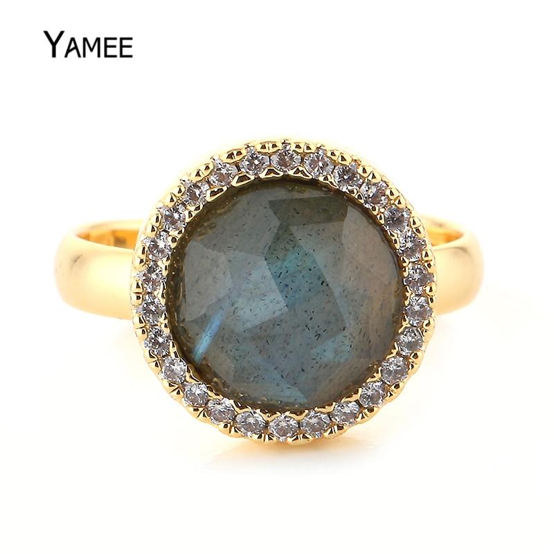 Round Zircon Gold Luxury Ring 13mm Labradorite Stone Adjustable Gold Wedding Rings Vinta ...
