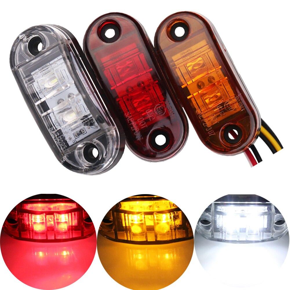2pcs red 12v trailer cars led side marker light indicator clearance lamp 24v truck side lights. Black Bedroom Furniture Sets. Home Design Ideas