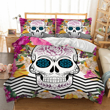 Wongsbedding Sugar Skull Bedding Set Colorful Duvet Cover Bedclothes Twin queen king size 3pcs dropship